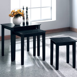 "Monarch Specialties Inc. - 3 Piece Nesting Tables - With a rectangular top and square legs making for a simple, transitional silhouette, this three piece nesting table set is the perfect unit for any decor. Stained in a black grain veneer, use these pieces as end tables, lamp tables, decorative display tables, or simply accent pieces. Features: -Transitional style.-Rectangular top and square legs.-Top Finish: Black grain.-Base Finish: Black.-Distressed: No.-Powder Coated Finish: No.-Gloss Finish: No.-Base Material: Solid wood.-Top Material: Solid wood veneer.-Solid Wood Construction: No.-Number of Items Included: 3.-Hardware Material: Metal.-Nesting Tables: Yes.-Non-Toxic: Yes.-UV Resistant: No.-Scratch Resistant: No.-Stain Resistant: No.-Lift Top: No.-Storage Under Table Top: No.-Magazine Rack: No.-Built In Clock: No.-Drawers Included: No.-Exterior Shelves: No.-Cabinets Included: No.-Glass Component: No.-Legs Included: Yes -Number of Legs: 4.-Leg Type: Square..-Casters: No.-Lighted: No.-Stackable: Yes.-Reclaimed Wood: No.-Adjustable Height: No.-Outdoor Use: No.-Swatch Available: No.-Commercial Use: No.-Recycled Content: No.-Eco-Friendly: No.-Product Care: Clean with damp soft cloth.-Powered: No.Specifications: -FSC Certified: No.-EPP Compliant: No.-CARB Compliant: No.-ISTA 3A Certified: No.-ISTA 1A Certified: No.-General Conformity Certificate: Yes.-Green Guard Certified: No.-ISO 9000 Certified: No.-ISO 14000 Certified: No.-UL Listed: No.Dimensions: -Overall Height - Top to Bottom: 20"".-Overall Width - Side to Side: 21"".-Overall Depth - Front to Back: 16"".-Overall Product Weight: 20 lbs.-Legs: Yes.Assembly: -Assembly Required: Yes.-Tools Needed: No.-Additional Parts Required: No.Warranty: -Product Warranty: 1 year limited on parts."