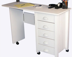 """Venture Horizon - Mobile 5-Drawer Folding Desk & Craft Table in - Folds for storage. Casters add mobility. Large work surface. 5 Handy drawers. Solid, sturdy, durable and easy to clean. Constructed from durable, stain resistant and laminated wood composites that includes MDF. Made in the USA. Assembly required. Weight: 57 lbs.. Table size:. Folded size: 20 in. W x 18 in. D x 29.5 in. H. Assembled size: 45 in. W x 18 in. D x 29.5 in. H. Drawers: 12.25 in. L x 13.5 in. W x 4.25 in. HFoldaway mobile desk center. Redesigned with larger and deeper drawers. Perfect for crafting! We took our best selling mobile desk and added some style. That's right. This version has thick corner posts and matching cup style handles made of durable metal like plastic. They seem to flow naturally from the drawer front panel. """"Beefy"""" 2 inch thick legs give it a solid look and feel. Easy on the eyes as well as the pocketbook. Whether you want a sewing center, a handy organizer from which to pay bills or an extra desk for the home office, our Mobile Work Center is right for the job. Six dual-track carpet casters will let you roll it anywhere...to work or out of sight. The five deep, roomy drawers provide storage for just about anything you have in the way of office supplies or crafts. Because of it's increased dimensions each drawer will accommodate large sized craft paper. Constructed from durable melamine laminated particle board the Mobile Desks is stain resistant, easy to clean and will offer a life time of reliable service."""