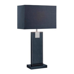 Lite Source - Remigio Table Lamp w Black Leather & Black Fabric Shade - Incandescent bulb not included. Bulb watt: 60W. Bulb voltage: 120. Shade dimension: (14 x 7) in. L x (14 x 7) in. W x 9 in. H. Lamp dimension: 14 in. W x 24.75 in. H (6.4 lbs.). Product Installation Instructions