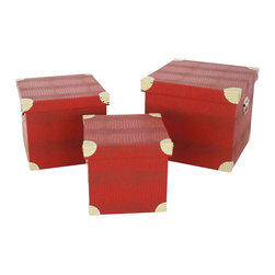 Screen Gems - Elric Trunks - Punch up your living room or office with a stack of red hot storage boxes. The sharp look is ideal for storing everything from family photos to magazines. Stack them in a corner for a sophisticated pop of color.