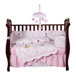 Sweet Jojo Designs - Ballerina 9-Piece Crib Bedding Set - Tiny dancer. This pretty pink nursery ensemble is all girl. It includes everything you need to outfit the nursery from top to bottom, from bedding and toy bag to diaper stacker and window valance.