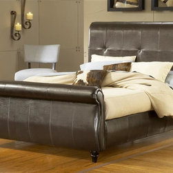Hillsdale Furniture - Fremont Sleigh Upholstered Bed in Brown Leath - Choose Bed Size: KingIncludes bed frame and rails. Mattress not included. Fully-upholstered, leather sleigh bed and side rails. Extra tall headboard, attractive stitching with subtle tufting, upholstered side rails. Carved wood feet. Some assembly required. Queen: 13 in. L x 65 in. W x 64 in. H (224 lbs.). King: 13 in. L x 81 in. W x 64 in. H (270 lbs.)