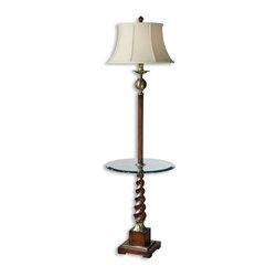 Uttermost - Burnished Light Cherry And Aged Bronze Myron Twist End Table Lamp - Burnished Light Cherry And Aged Bronze Myron Twist End Table Lamp