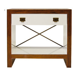 Worlds away - Dalton Nightstand Rosewood and White Lacquer - Pick this artsy rosewood and white lacquered nightstand to place alongside your bed and add a contemporary feel to your bedroom. Details including an X-shaped brace and burnished drawer pulls add lots of interest.
