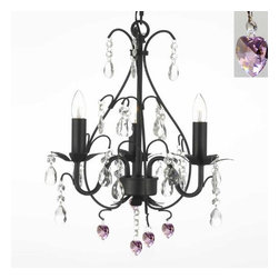 Gallery - Gallery T40-379 Wrought Iron 3 Light 1 Tier Crystal Mini Chandelier - Features: