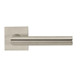 Door Lever Set Naples, Satin Stainless Steel - This modern and stylish lever set will enhance your interior door and makes it a true conversational piece. It is from solid cast iron and available in different finishes. The set includes the handles on both sides, both rosettes and the mortise lock for passage or privacy. This lever set is made for custom doors that are not pre-hung or prepped for standard handles.
