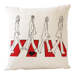 reStyled by Valerie - Beatles Throw Pillow Cover, Accent Pillow Cover - You're not one to let it be. Add your 16-inch square pillow insert to this cover for a little decorating pop that will help your room come together. The iconic image is screen printed on one side of a luxurious and long-wearing linen and rayon blend fabric that has a zipper closure on bottom.