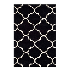 Safavieh - Madison Hand Tufted Rug, Black / Ivory 2' X 3' - Construction Method: Hand Tufted. Country of Origin: India. Care Instructions: Vacuum Regularly To Prevent Dust And Crumbs From Settling Into The Roots Of The Fibers. Avoid Direct And Continuous Exposure To Sunlight. Use Rug Protectors Under The Legs Of Heavy Furniture To Avoid Flattening Piles. Do Not Pull Loose Ends; Clip Them With Scissors To Remove. Turn Carpet Occasionally To Equalize Wear. Remove Spills Immediately. A timeless quatrefoil motif makes a global design statement in the subtle but sophisticated Desai area rug. These stunning hand-tufted wool rugs are crafted in India to recreate the elegant look of hand-knotted carpets for today's lifestyle interiors.