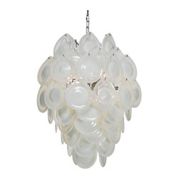 Ventura Coastal Beach Metal White Glass Chandelier - Contrasting opaque and clear drops of white art glass come together and engulf  chandelier bulbs to diffuse light beautifully.  Evocative of ice sculpture, sea foam, and abstract art, this noteworthy piece of lighting will appeal to mid century and coastal beach style fans.