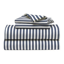 Stripe Sheet Set, White/Dusty Navy