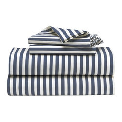Stripe Sheet Set, White/Dusty Navy - This striped bedding is jaunty and fun!