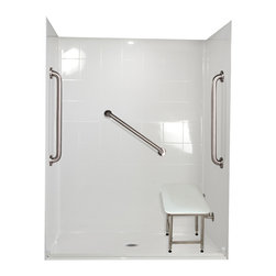 """Ella's Bubbles - Ella Standard Plus 24 Barrier Free, 60""""W x 37""""D x 78""""H, Center Drain - The Ella Standard Plus 24, (5-Piece) 60 in. x 36 in. Roll in Shower is manufactured using premium marine grade gel coat fiberglass which creates a smooth, beautiful, long lasting surface with anti-slip textured shower base floor. Ella Standard Plud 24 Barrier Free Shower walls are reinforced with wood and steel providing flexibility for seat and grab bar installation at needed height for any size bather. The integral self-locking aluminum Pin and Slot System allows the shower walls and the pre-leveled shower base to be conveniently installed from the front. Premium quality material, no need for drywall or extra studs for fixture support, 30 Year Limited Lifetime Warranty (on shower panels) and ease of installation make Ella Barrier Free Showers the best option in the industry for your bathtub replacement or modification needs. The Ella Standard Plus 24 Barrier Free, Roll In Shower comes with three (3) 24 inch satin finish straight stainless steel grab bars (not installed to allow for custom positioning), a four legged fold-up seat, a textured slip resistant Grip Sure™ floor, a collapsible white rubber dam which allows for easy wheelchair roll over into the shower stall and keeps water inside the shower."""