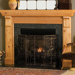Lancaster Wood Fireplace Mantel - Shown here in Knotty Alder, the Lancaster wood fireplace mantel is perfect for a rustic, wilderness decor. The Lancaster is available either finished or unfinished depending on your specific needs.  - Mantels Direct