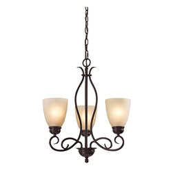 Cornerstone - 3 Light Chandelier - The Chatham Series is a transitional collection with great lines. This Three Light Chandelier in Oil Rubbed Bronze with Light Amber Glass is a great look to enhance any home Replacement Glass # G1010 Additional Chain # P1001
