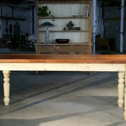 Farm Tables With Fruit Wood Finish & White Base - Made by www.ecustomfinishes.com