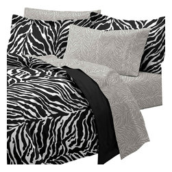CHF Industries Inc - Zebra Print Twin Bedding Set 5pc Black White Bed - Features: