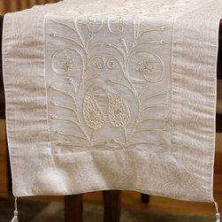 """Elegant Table Runners - Snow White  """"Ornamental Embroidered"""" table runner. Hand crafted in India. Great complement to any table top. Great decor idea for wedding."""