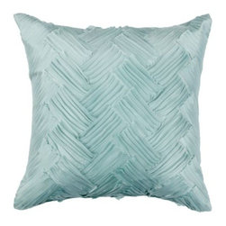 """Z Gallerie - Valeda Pillow 18"""" - Refined and sophisticated, Z Gallerie's easy to layer Valeda Pillow elevates the style of its surrounding décor.  Rows of polyester are sewn to the backing, leaving the edges loose to create a dynamic chevron inspired pattern.  Stunning in a wide variety of décor settings, our Valeda Pillows are available in two complementary hues, Gold and Venetian Blue. The 18 inch square pillow is filled with a plush blend of polyester fiber, duck feathers and down."""