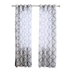 "Best Home Fashion - Velvet Reverse Moroccan Print Grommet Top Curtain Pair 84""L, Grey - If you're going for a fun, sophisticated look these printed velvet curtains are just what you need. Add a stylish touch to your home décor with our moroccan design on lustrous velvet."