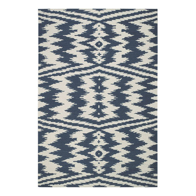 """Uzbek rug in Bokrum Blue - """"The indigenous patterns from the east are contagious, folky and powerful.  This rug plays with what's familiar in these woven wonders and pushes it in its patterning to the next level.  I love the juxtaposition of familiar and the unknown."""" - Genevieve Gorder"""