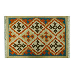 Hand Woven Area Rug, 100% Wool 3X5 Flat Weave Tribal Anatolian Kilim Rug SH6289 - Soumaks & Kilims are prominent Flat Woven Rugs.  Flat Woven Rugs are made by weaving wool onto a foundation of cotton warps on the loom.  The unique trait about these thin rugs is that they're reversible.  Pillows and Blankets can be made from Soumas & Kilims.