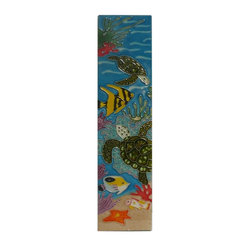 Golden Lotus - Chinese Porcelain Turtle Fishes Wall Hanging Art - This is a wall hanging art / plaque made of porcelain with colorful turtle and fish scenery. Not flat surface.
