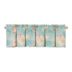 "C F Enterprises - Santa Catalina Unlined Valance - The Sanata Catalina Valance is part of a bedding collection by C F Enterprises in Aqua, Coral, Cream and Taupe. The valances are a single layer of fabric measuring 72"" x 15.5"" and is normally suitable for a single window."