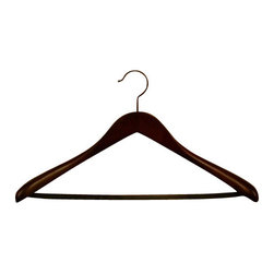 "Proman - Proman 19.5"" Taurus Deluxe Contour Suit Hanger, Mahogany - Taurus deluxe 19.5"" L contour suit hanger with pvc tube/bar, in mahogany, black hardware, 12pcs/case. 2"" thick at widest point on shoulder."