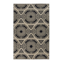 Surya - Surya Kaleidoscope KAL-8004 (Parchment, Charcoal Gray) 2' x 3' Rug - Blending the exquisite elements of chic trend to create a multidimensional look, this flawless rug will inject a fresh punch of divine design into your space. With its multi layered geometric design that effortlessly create sections of seemingly floral design, this multi layered piece will surely amp up the style wattage from room to room in any home decor.
