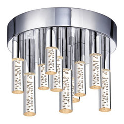 Sonneman - Champagne Staccato 2262 - LED Ceiling Mount | Sonneman - Sonneman Lighting Staccato 2262 LED ceiling mount features champagne shade and polished chrome finish. Manufacturer: SonnemanSize: 12 in. diameter x 6.75 in. height Light Source: (16) 30watt total Cree LED [color temp. warm White 3000K, 80 CRI, 2320 Lumens] (180w equivalent) - included Location:�_Dry Certification: ETL, UL Dimmable w/ ELV or Universal Dimmer Switch - not included