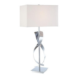 George Kovacs - P723 Portables 1-lt Table Lamp - 1 Light Table Lamp with Chrome finish and White Linen Shade