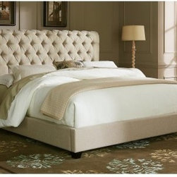 Upholstered Sleigh Low Profile Bed - Natural Linen Fabric - The bed is always the focal point of the room, so make sure it really counts with the traditional Upholstered Sleigh Bed - Natural Linen Fabric. The classic sleigh-style design is upholstered in a soft natural linen fabric for an elegant look. Button-tufted details and nailhead trim finish the look, creating a style that's distinctively yours.Headboard Dimensions:Queen: 64W x 9D x 56H in.King: 80W x 9D x 56H in.About Liberty FurnitureEstablished in 1993, Liberty Furniture Industries, Inc. had seven employees and manufactured wood chairs and laminate table tops in a modest section of a warehouse in west Atlanta. Over the years, its scope has widened to include formal and casual dining furniture, accent furniture, and bedroom furniture. It now operates out of three main facilities in Atlanta, one brand-new facility in Chicago, and its first Asian office. As Liberty continues to grow, it searches for more ways to expand and offer more of what its customers want. Liberty is now one of the premier leaders in manufacturing and delivering quality furniture at exceptional value. Through its growth, it has remained a strong, family-oriented business that never compromises its values of dedicated customer service, a relentless pursuit of quality, and a devotion to enriching lives of its employees, its customers, and its community.