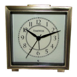 TIMEWISE CLOCKS - Monarch Alarm Clock Brushed Bronze - This elegant alarm clock features: