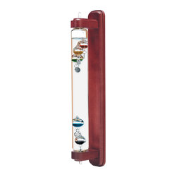 Galileo Wall-Mount Mahogany 18 inch - Let the jewel-like sparkle of this sculptural Galileo Thermometer adorn your home while displaying the laws of thermodynamics. Galileo Galilei (1564 - 1642) invented the thermoscope, the world's first instrument indicating changes of temperature.