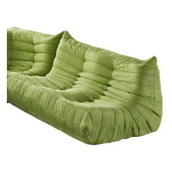 "LexMod - Waverunner Loveseat in Green - Waverunner Loveseat in Green - Provide natural comfort at every gathering with a balanced set of functional symmetry. Observe as Waverunner interplays ergonomics with dense foam cushioning to precisely reflect full relaxation. Wander through the pathways of elucidation with a multi-layered environment of intricate folds and holistic positioning. Set Includes: One - Waverunner Modular Loveseat Perfect for living room or lounge, Covered in easy-care microfiber, Ground level Density foam, Sold as a set or individually Overall Product Dimensions: 36""L x 49""W x 26""H Seat Height: 13""H - Mid Century Modern Furniture."