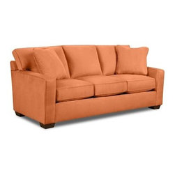 Possibilities Track-Arm Sofa, Tuscany Top Hat Fabric - This traditional couch has a soft clay-peach color that will help you not fear the colored sofa.