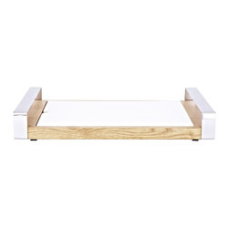 Wood Tray with Cheese Board, Natural - The brightness of the white cheese board contrasts wonderfully with the rich wood grain of the tray. The teflon cheese board insert lifts out for easy cleaning and the stainless steel handles make for comfortable serving. The tray can also be used separately.Made in Italy.