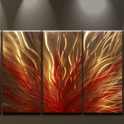 Matthew's Art Gallery - Metal Wall Art Abstract Modern Contemporary Sculpture  Silver Bronze Fire - Name: Silver Bronze Fire