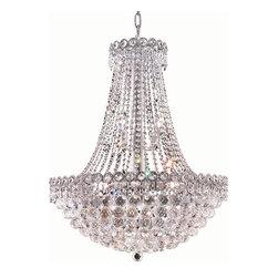 Elegant Lighting - Elegant Lighting 1901D24C/EC Century 12 Light Chandeliers in Chrome - 1901 Century Collection Hanging Fixture D24in H30in Lt:12 Chrome Finish (Elegant Cut Crystals)