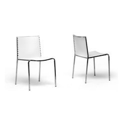 Baxton Studio - Baxton Studio Gridley White Plastic Modern Dining Chair (Set of 2) - Modern straight line design with a bit of flair, the Gridley Dining Chair brings a splash of surprise.  Beautiful around any table, each chair is made of durable white molded plastic with a chrome-plated steel frame and non-marking feet.  The chairs are conveniently stackable.