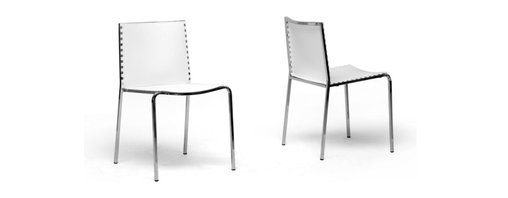Baxton Studio - Baxton Studio Gridley White Plastic Modern Dining Chair (Set of 2) - Modern straight line design with a bit of flair, the Gridley Dining Chair brings a splash of surprise.