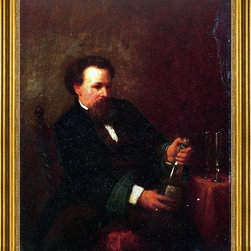 "Eastman Johnson-16""x20"" Framed Canvas - 16"" x 20"" Eastman Johnson Self Portrait with Bottle of Champagne framed premium canvas print reproduced to meet museum quality standards. Our museum quality canvas prints are produced using high-precision print technology for a more accurate reproduction printed on high quality canvas with fade-resistant, archival inks. Our progressive business model allows us to offer works of art to you at the best wholesale pricing, significantly less than art gallery prices, affordable to all. This artwork is hand stretched onto wooden stretcher bars, then mounted into our 3"" wide gold finish frame with black panel by one of our expert framers. Our framed canvas print comes with hardware, ready to hang on your wall.  We present a comprehensive collection of exceptional canvas art reproductions by Eastman Johnson."
