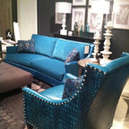 High Point Market 2013 - New sofa setting by Bradington Young. Bright and beautiful.