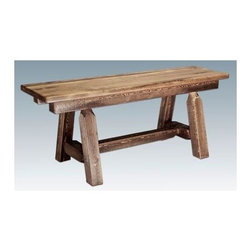 Montana Woodworks - 45 in. Plank Style Bench - Hand crafted. Heirloom quality. Edge glued panels. Solid lodge pole legs. Cross support. Timbers and trim pieces are sawn square. Rustic timber frame design. Made from American grown wood. Stained and lacquered finish. Made in USA. No assembly required. 45 in. L x 12 in. W x 18 in. H (32 lbs.). Warranty. Use and Care InstructionsMix and match with dining side chairs or use it in the hall or foot of the bed for easy, comfortable seating.
