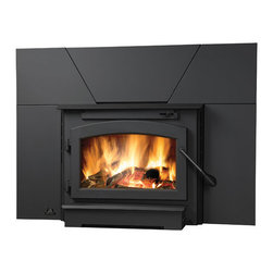WOLF STEEL LTD (CORE) - EPI22 Timberwolf Small Woodburning Insert with Blower Kit, Black Door and Surrou - EPI22 Timberwolf Small Woodburning Insert with Blower Kit, Black Door and Surround