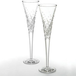 Waterford - Waterford Wishes Toasting Flutes Happy Celebrations Pair - Introducing Waterford Wishes - enhancing each toast you make at every special occasion. With cuts designed to represent the bubbles in champagne, these flutes are perfect for any celebratory occasion. Birthdays, weddings or everyday, you will enjoy toasting the happy celebrants with the brilliance and refinement reflected in your Waterford Crystal toasting flutes. Features: -Set of two 5 oz flutes -Quality construction. -Beautiful craftsmanship. -Hand wash recommended.