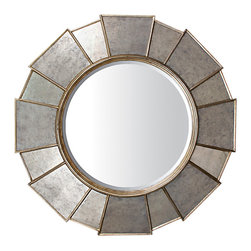 TerraSur - Tamara Round Eglomise Mirror - Wood frame with reverse painted glass inlay (eglomise).  Made in Peru.