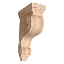 """Inviting Home - Boston Medium Counter Corbel - Alder - corbel for kitchen counter support in alder 10-1/2""""H x 6-1/2""""D x 3-3/8""""W Corbels and wood brackets are hand carved by skilled craftsman in deep relief. They are made from premium selected North American hardwoods such as alder beech cherry hard maple red oak and white oak. Corbels and wood brackets are also available in multiple sizes to fit your needs. All are triple sanded and ready to accept stain or paint and come with metal inserts installed on the back for easy installation. Corbels and wood brackets are perfect for additional support to countertops shelves and fireplace mantels as well as trim work and furniture applications."""