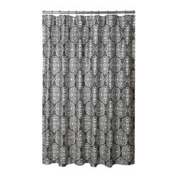 BlissLiving Home - Blissliving Home Harmony Shower Curtain - This grey shower curtain has a soothing overall pattern of white medallions on a storm grey background providing an elegant backdrop for your early morning showering song. This gray and white luxury shower curtain would look great with any accent color you choose for your bathroom walls.