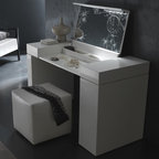 Rossetto - Rossetto | Nightfly Dressing Table - Made in Italy by Rossetto.Simple movements turn a basic shape into a functional, glamorous vanity with LED lighting and multiple accessory compartments. The Nightfly Dressing Table by Rossetto combines a high gloss finish in White, Black, or Ebony with luxurious crocodile print leather. This space-saving design features hidden pull-out storage in the right pedestal and underneath the crocodile-print leather table top, which lifts to reveal a full mirror and convenient caddies for dressing essentials. Select White with White leather, Black with Black leather, or Ebony with Black leather.